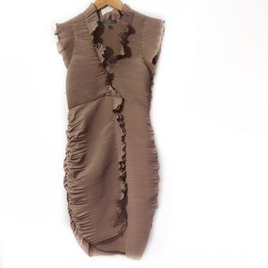 Gracia Brown Pleated Ruched Cocktail Mini Dress